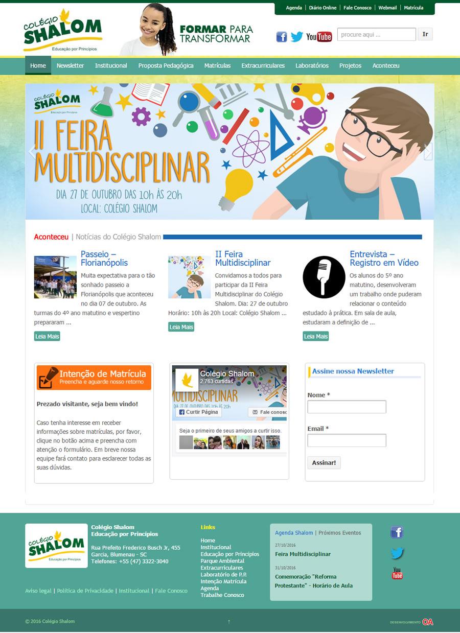 Design gráfico e desenvolvimento de site para a o Colégio Shalom