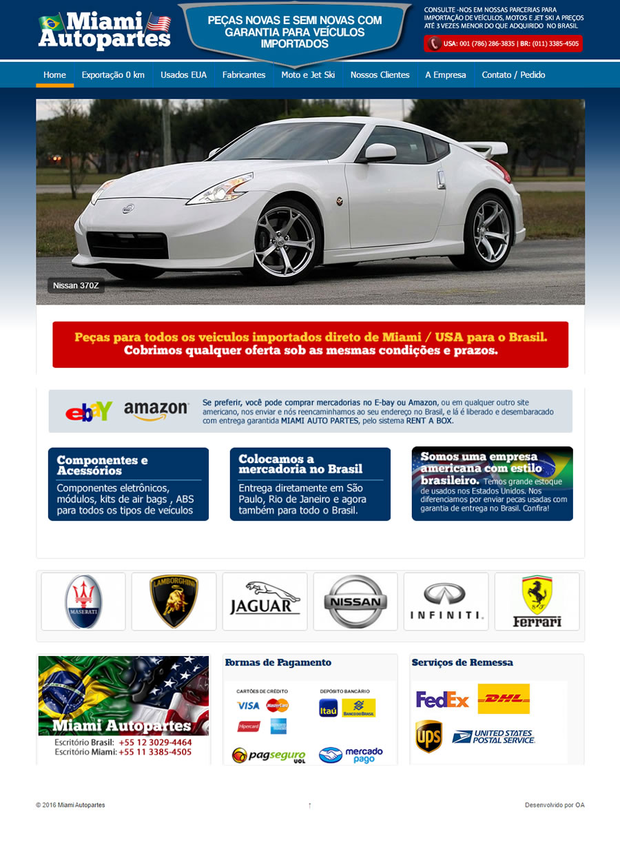Site empresarial Miami Autopartes - Miami - EUA