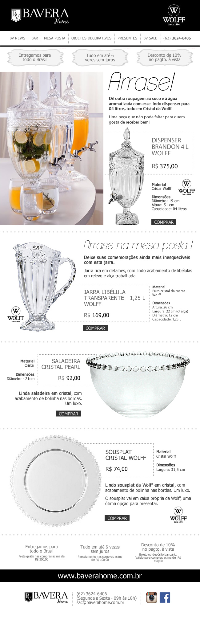 Newsletter para loja virtual Bavera Home