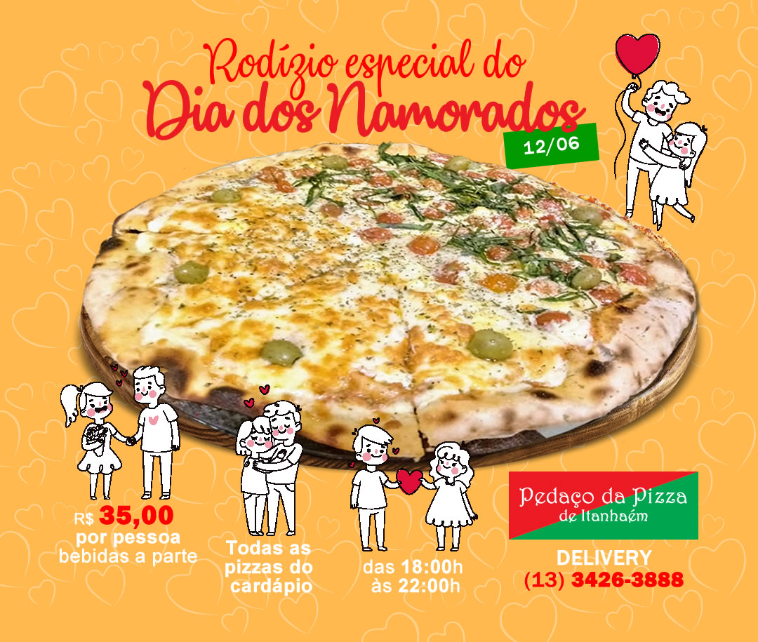 Flyer digital para Pedaço da Pizza. Designer gráfico freelancer Osvaldo Almeida