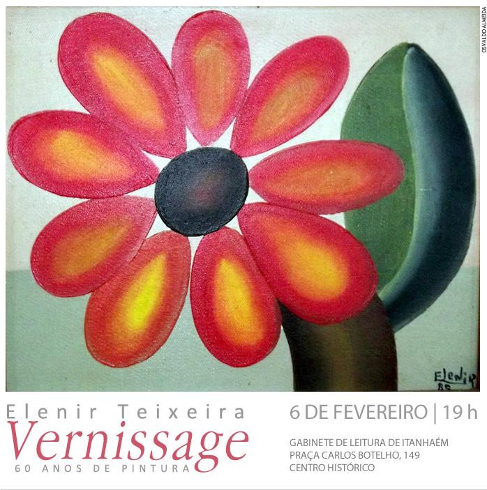 Convite para exposição de Elenir Teixeira. Designer gráfico freelancer Osvaldo Almeida