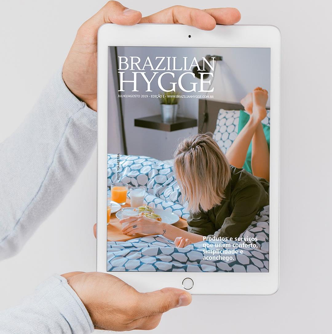 Projeto gráfico e diagramação para Revista Brazilian Hygge - Flyer de promoção para Instagram e Facebook