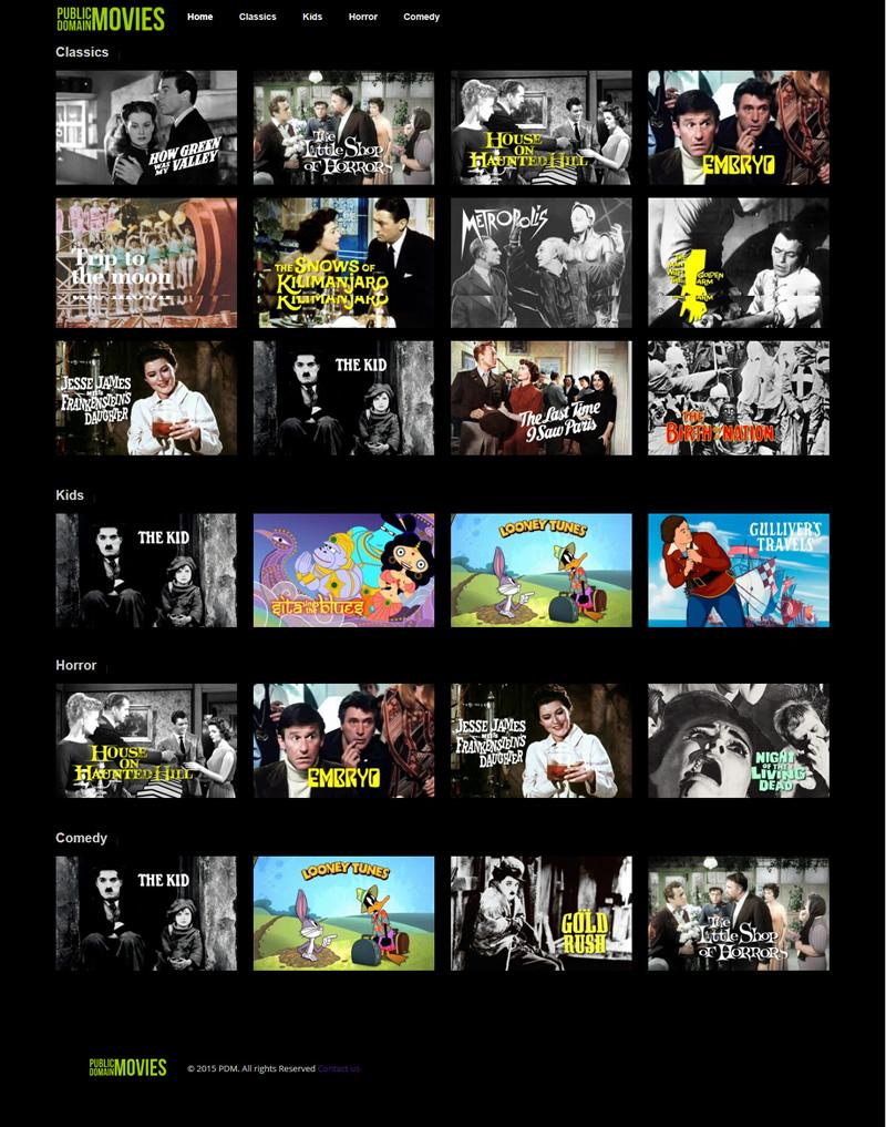 Design do site Public Domain Movies