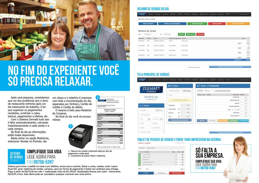 Folder para Sistema de Restaurantes Zermatt. Designer gráfico freelancer Osvaldo Almeida