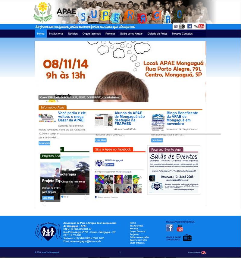 Design gráfico e desenvolvimento de site para a Apae de Mongaguá