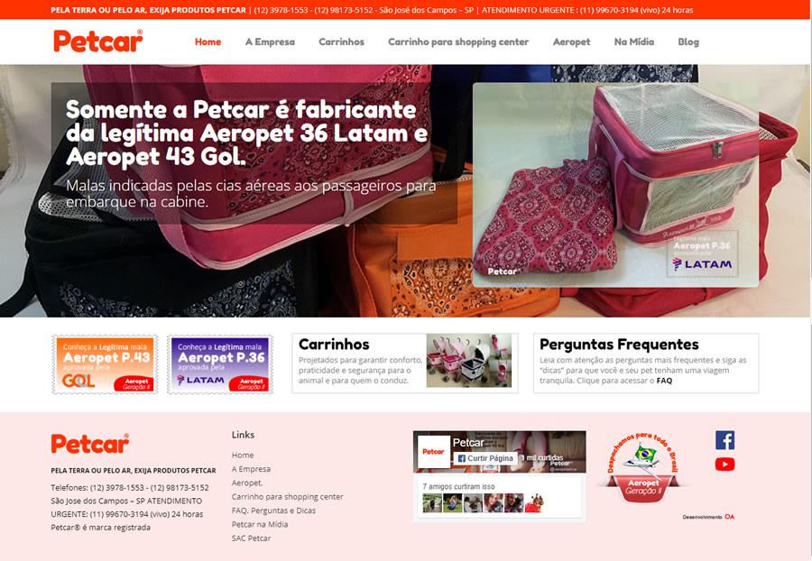 Site da Petcar Carrinhos  - São Sebastião - SP