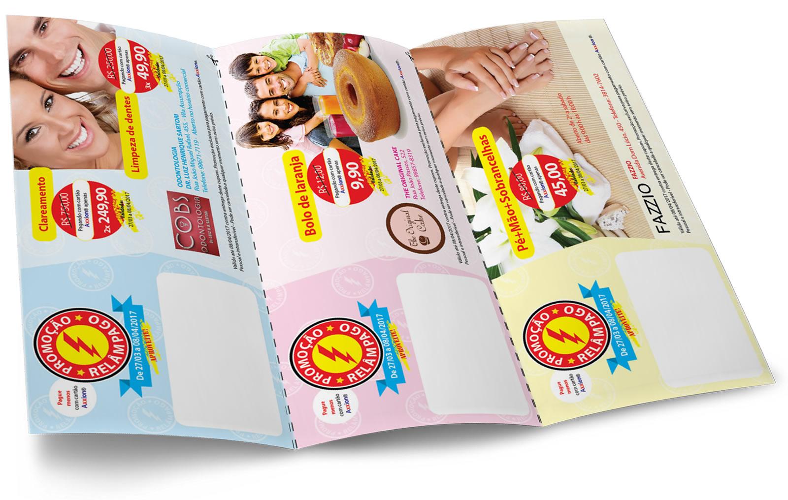Design gráfico de Folheto de Cupons A4 para Cartões Axxion | Osvaldo Almeida Designer