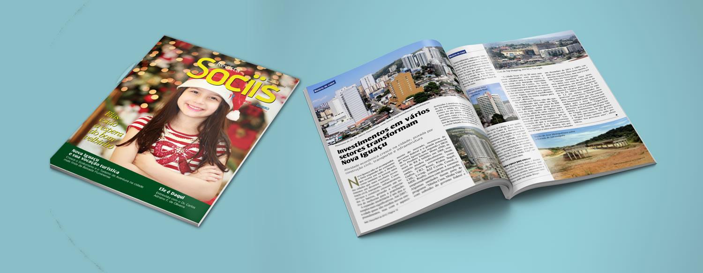Projeto gráfico e diagramação de Revista Sociis - Nova Iguaçu - RJ