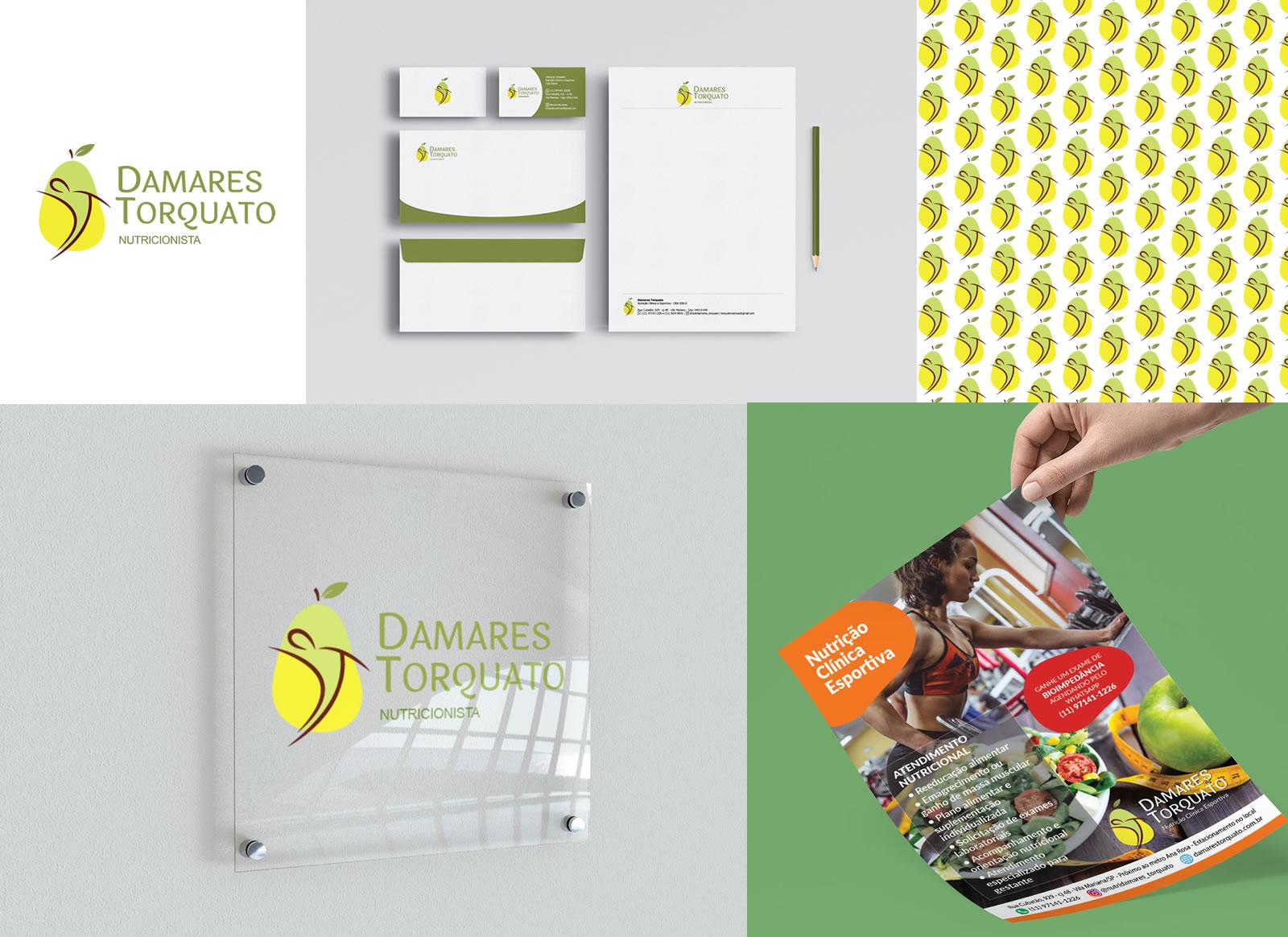 Criação de logotipo e identidade visual para Damares Torquato Nutricionista Esportiva